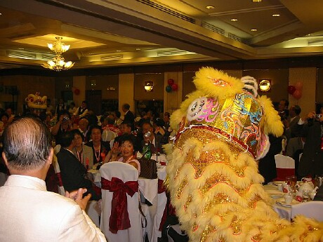 Lion dancing at